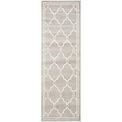 """Safavieh Amherst Collection AMT414B Light Grey and Ivory Indoor/ Outdoor Runner (2'3"""" x 21') - Stunning polypropylene fibers make this rug soft and luxurious to the touch The power loomed construction adds durability to this rug, ensuring it will be a favorite for many years The modern, geometric pattern of these rugs will give your room a fresh accent - runner-rugs, entryway-furniture-decor, entryway-laundry-room - 41PO yeBFtL. SS400  -"""