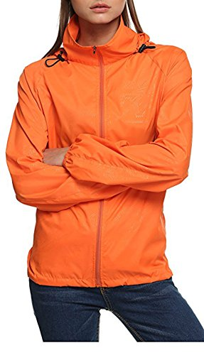 Salamaya Mujer Súper Ligera Chaqueta con Capucha al Aire Libre Seco Rápido Cortavientos Impermeable UV Proteger el Escudo de la Piel Chaqueta al Aire Libre Chubasquero Chaqueta de Senderismo Naranja