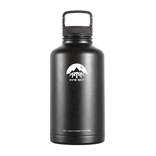 64oz Stainless Steel Growler and Vacuum Insulated Wide Mouth Water Bottle by Pine Sky - 2 Lid Package, Black