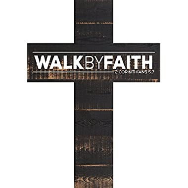 Walk by Faith 2 Corinthians 5:7 White Letters Distressed 12 x 9 Wood Wall Art Cross Plaque