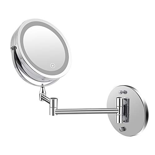 Wall Mount LED Lighted Makeup Mirror, Battery Operated/USB Plug, 1x/5x Magnification, 7 Inch Touch Screen Dimmable Lights Bathroom Mirror for Christmas ()