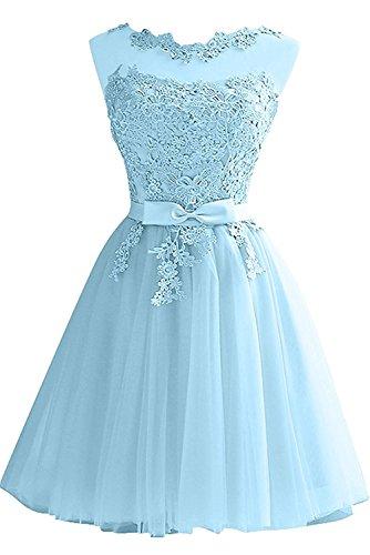 Braut Abendkleider Partykleider La Hundkragen Cocktailkleider mia Festlichkleider Blau Blau Kurz Spitze Damen Mini UwwpRx