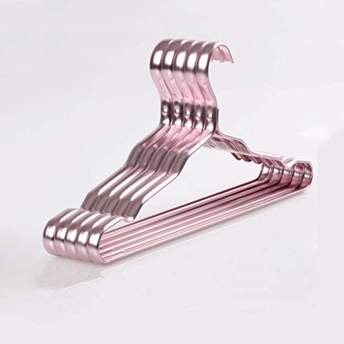 Drying Racks Clothes Rack Widened Section Aluminum Alloy Non-slip Clothes Rack Hangers Metal Clothes Hanger Clothing Support Household Adult Without Traces (Color : Rose gold) by Drying Racks
