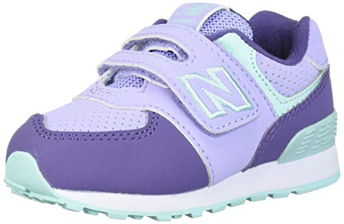 New Balance Girls 574v1 Hook and Loop Sneaker, Clear Amethyst/, 7 B W US Infant (0-12 Months)