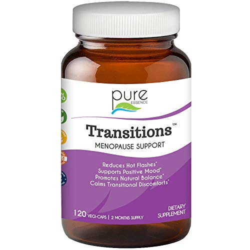 Transitions by Pure Essence Labs - Natural Menopause Relief Supplement - Promotes Hormone Balance, Reduces Hot Flashes, Mood Swings, Night Sweats - 120 Capsules (Best Herbs For Sleeplessness)