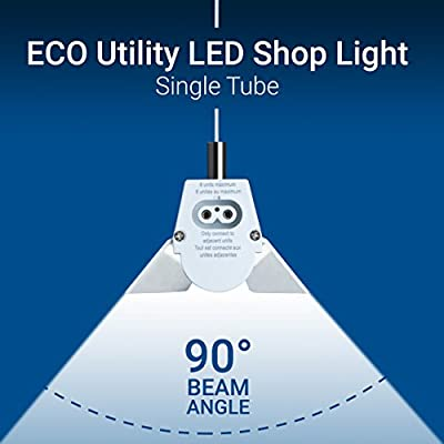 Hyperikon Linkable LED Shop Light, 4FT Single Tube, Frosted Cover, 23W (60W Eq.), Linkable Integrated Single Fixture, For Workshop Garage Basement