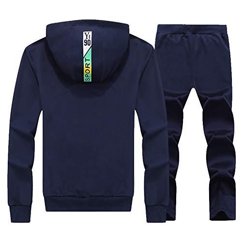 Y Capucha Chandal Con Atlético Hombres Pantalones Jogging Completo De Marino Azul Cierre Sudaderas Sport TwCFxnqAY