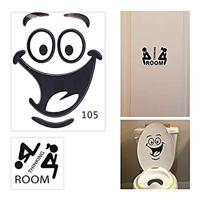 Honbay Waterproof and Removable Thinking Room Door Decal Smile Face Toilet Lid Sticker