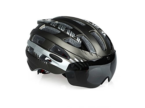 Wesource Cycle Bike Helmets with Removable Goggles Bike Helmet One-Piece Adjustable Adult Helmet(Titanium Silver) by Wesource