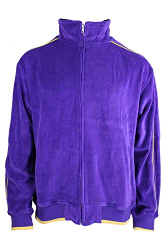 Purple Velour Track Jacket with Yellow Piping (XXX-Large)