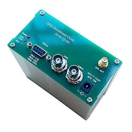 D YEDEMC 10Mhz Output sine Wave GPS disciplined Clock GPSDO + GPS Antenna+  Power Supply Green and Silver