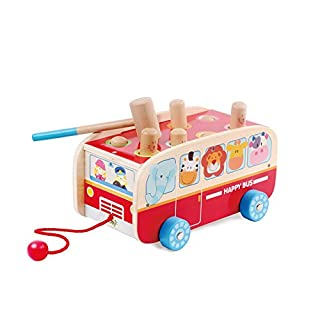 Kids Destiny Exciting Animal Bus Pounding Bench with Pull Along String - for Toddlers and Preschool