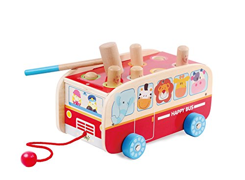 Exciting Animal Bus Pounding Bench with Pull along String - For Toddlers and Preschool - By Kids Destiny by Kids Destiny