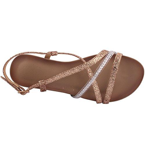 Unze Nuevas Mujeres 'Mongol' Open Toe Wedge Sandalias Verano Beach Travelling School Carnival Zapatos Casual Reino Unido Tamaño 3-8 Gold