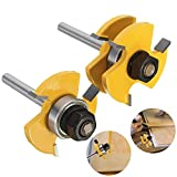 Grooving Router Bit, Dayree 2pcs Tongue Groove Router Bit set Adjustable 3 Wing T Shape with 1/4'' Shank Wood Milling Cutter Woodworking Tools