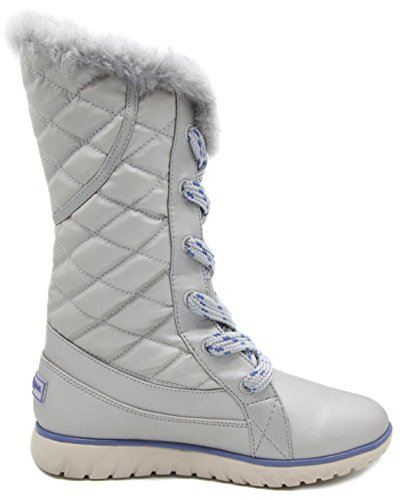 London Mist Womens Waterloo Waterproof Tempature Rated Koud Weer Snowboots Stone White Quilten