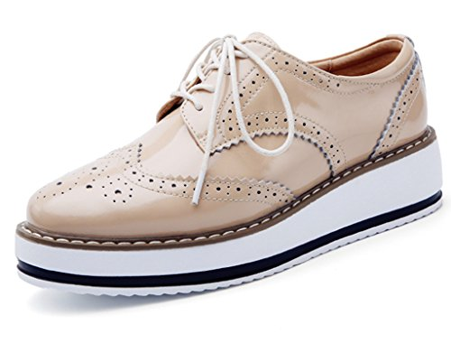 Shoe Red Gloss Womens (DADAWEN Women's Platform Lace-Up Wingtips Square Toe Oxfords Shoe Apricot US Size 8/Asia Size 40/25cm)