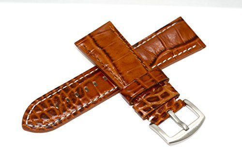 BROWN 28MM ALLIGATOR STITCHED GENUINE LEATHER WATCH BAND STRAP FITS