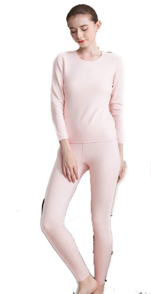 Women's Ultra Soft Thermal Underwear Long John Set with Silk Fleece Lined Pink by Antamaca