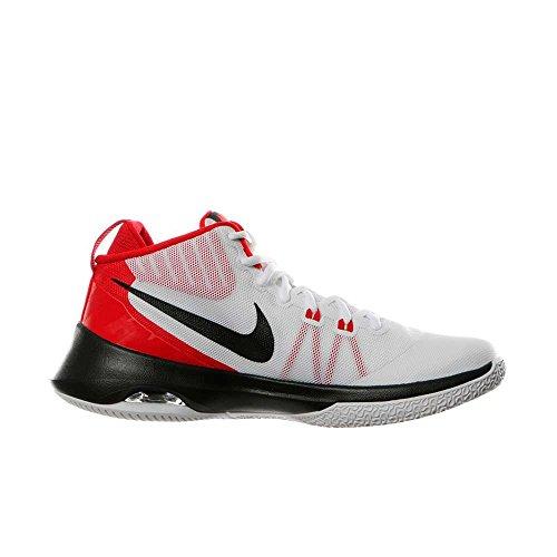 NIKE Men's Air Versitile Nubuck Basketball Shoes (7.5 D(M) US, White/Black-University Red)