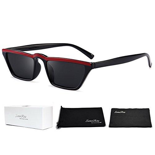 SamuRita Small Retro Square Cat Eye Sunglasses Mod Stylish UV400 Shades - Sunglasses High Uv400 Quality Acetate