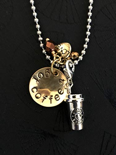 - Got Coffee Whimsical Hand Stamped Necklace Featuring Detachable Coffee Mug Charm, Antiqued Gold Heart Charm and Czech Glass Beads.