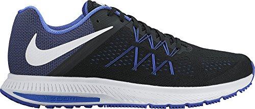 Nike Zoom Winflo 3 Black/White/Paramount Blue Mens Running Shoes, Black/White/Paramount Blue, 45.5 D(M) EU/10.5 D(M) UK