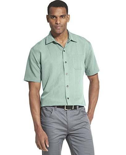 (Van Heusen Men's Air Short Sleeve Button Down Poly Rayon Stripe Shirt, Blue Glow, X-Large)
