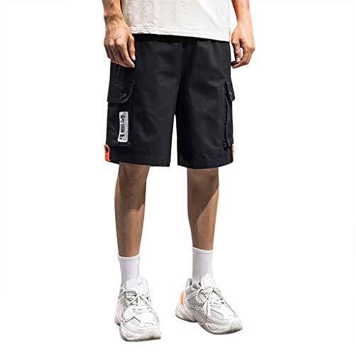 (Hunauoo Mens Drawstring Shorts Summer Pure Color Button Loose Sweatpants Drawstring Shorts Black)