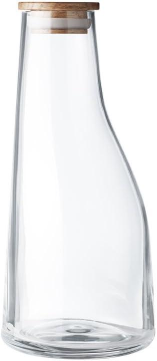 Georg Jensen Barbry Glass and Oak Wood Carafe 0.5 L