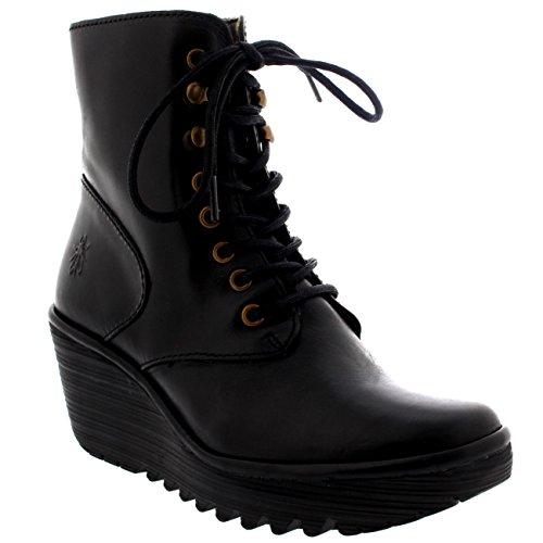 FLY London Women's Ygot Boot, Black Rug, 38 EU/7.5-8 M US Black London Calf Boots
