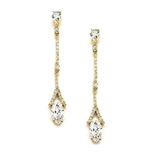 Mariell Marquis Cut Cubic Zirconia Linear Dangle Bridal Wedding Earrings Plated in Genuine 14K Gold