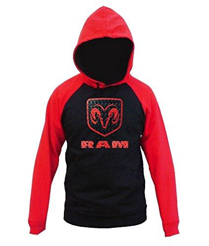 Dodge RAM Logo Men's Black/Red Raglan Baseball Hoodie Sweater Medium ()