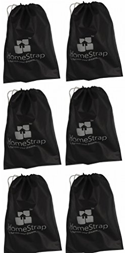 HomeStrap Shoe Pouch   Black  Set of 6