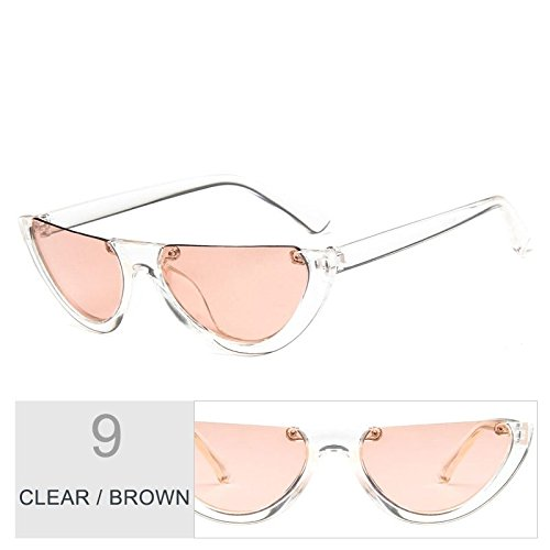 Sunglasses claro Brown Gafas gafas sol Negro Clear Vintage mujeres de gato de TL de ojo personalidad qOg4RxHOdw