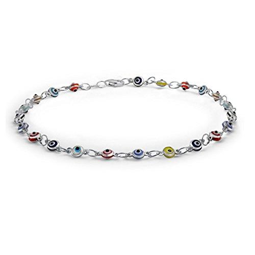 Bling Jewelry Multi Color Anklet Sterling Silver Evil Eye Ankle Bracelet 10in