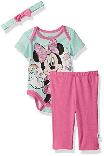 Disney Baby Girls' Minnie Mouse 3 Piece Bodysuit, Pant, and Headband Set, Blue Light/Azalea Pink, 6/9 M -