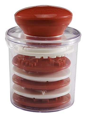 Hutzler Santa's Kitchen Cookie Stamp Set of 6 with Measuring Cup Storage Container 31906