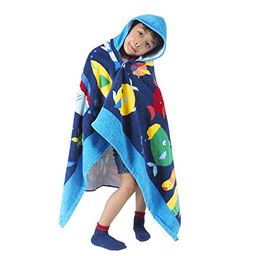 HOMFREEST Hooded Towel Toddler Boy Girls Beach Towel Soft Baby Bath Towel Multi-use for Bath/Pool/Beach/Swim Absorbent Fade Resistant 100% Cotton for Age 3-7 Years Kids Hooded Poncho -