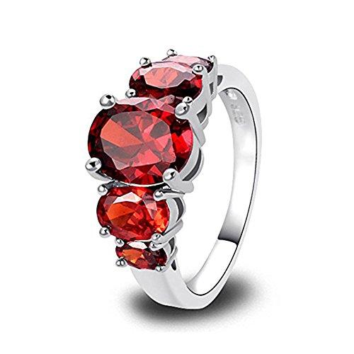 Psiroy Women's 925 Sterling Silver 5cttw Garnet Filled Ring