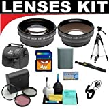 2x Digital Telephoto Professional Series Lens + 0.5x Digital Wide Angle Macro Professional Series Lens + 3 Piece Digital Camera Filter Kit + 4GB SD Card+ Deluxe DB ROTH Super Savings Accessory KiFor The JVC Everio GZ-MC100, MC200, MC500 Microdrive Camcorderst
