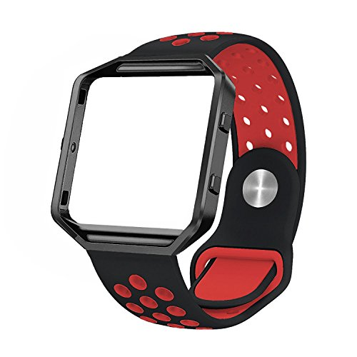SWEES Silicone Bands Compatible Fitbit Blaze, Sport Replacement Wristband Small & Large (5.8- 8.8) Metal Frame Designer Strap Women Men, Black, Grey, Navy Blue, Mint, Silver, Coral