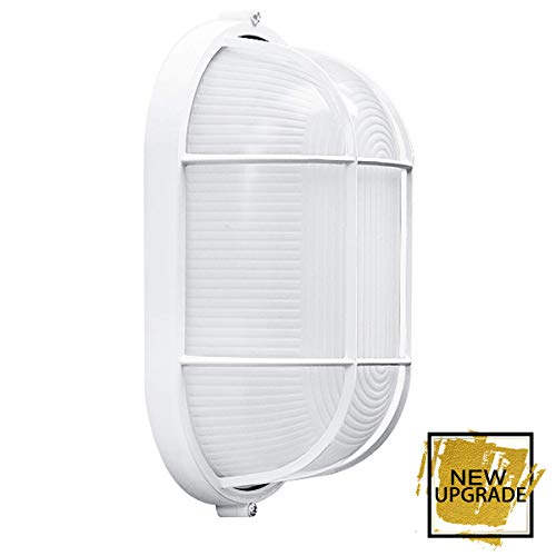 Waterproof Grid Oval Bulkhead Ceiling Light, White Outdoor Wall Light, Safety - 8 Inches, Suitable for Bedroom/Sauna Room/Storehouse, Warranty. ()