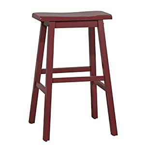 "Amazon Brand – Stone & Beam Cottage Wood Bar Stool, 29""H, Red"