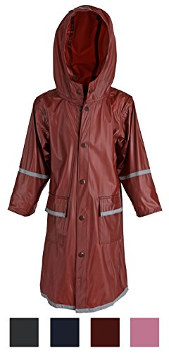 Kid's Rain Jacket: Big Girl's Kids Waterproof Full Length Long Hooded Raincoat Jacket For Children - Maroon - Kids Jacket Maroon