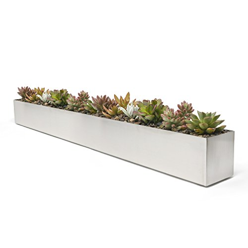 - Buhbo Modern Trough Rectangle Planter 32 inch, Brushed Stainless Steel