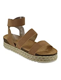 Nature Breeze FQ83 Women's Elastic Strappy Lug Sole Platform Sandals