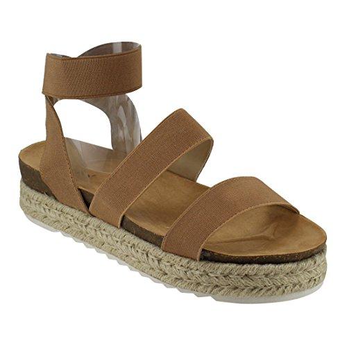 Camel Platform - Nature Breeze FQ83 Women's Elastic Strappy Lug Sole Platform Sandals, Color:Camel, Size:6