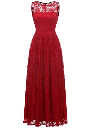 - Wedtrend Women's Floral Lace Long Bridesmaid Dress Party GownWTL10007B-RedM