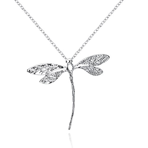 Fashion Jewelry 925 Silver Dragonfly Pendant Necklace for (Silver Mens Dragon)